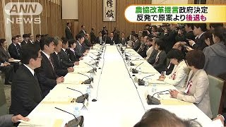 農協改革提言を政府決定 改革期限は反発受け削除(16/11/29)