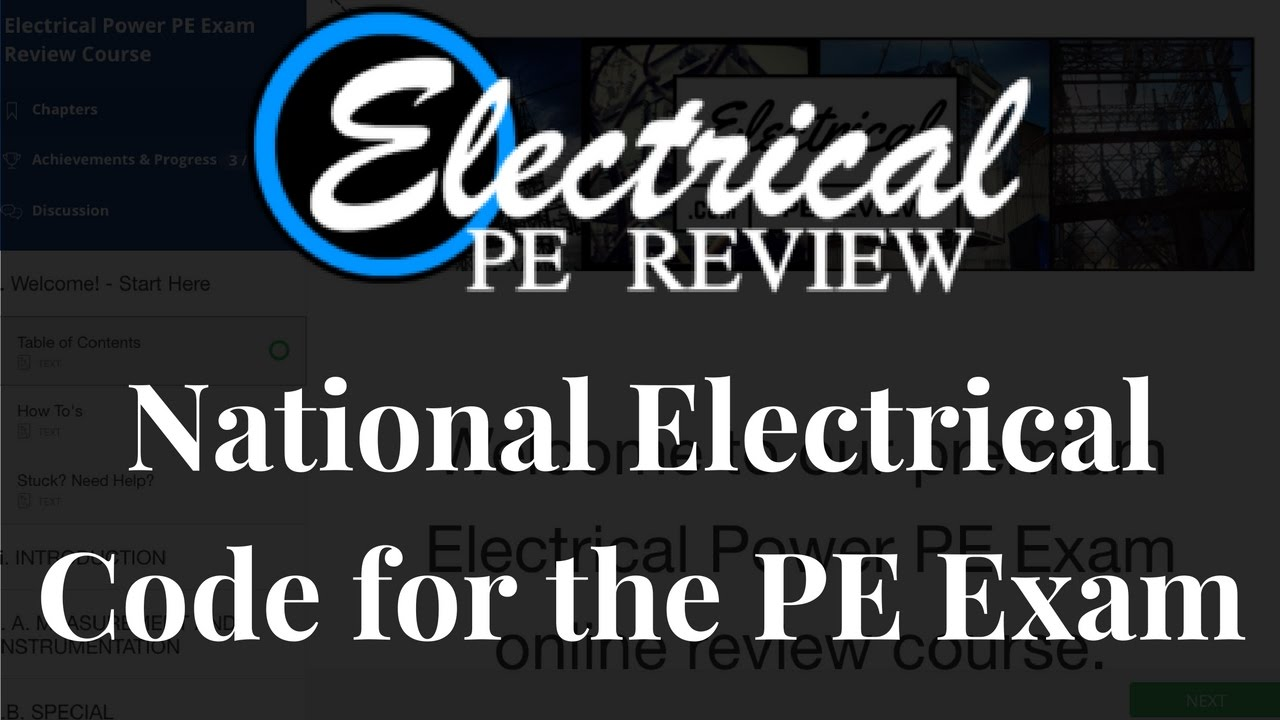 Electrical Power PE Exam National Electrical Code (NEC) how to ...