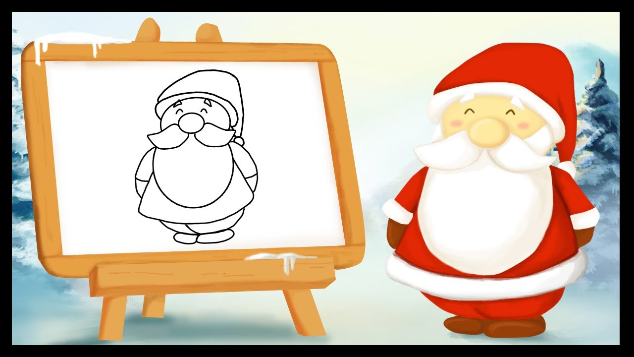 Comment dessiner le p re no l youtube - Pere noel facile a dessiner ...