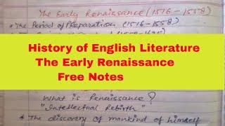 history of English Literature ॥Renaissance ॥ dsssb॥ tgt pgt up