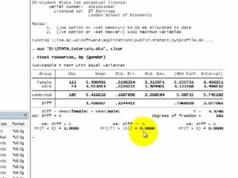 STATA Tutorials T Test Comparing Two Means From Independent Samples