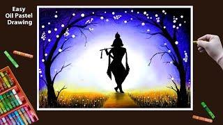 Janmashtami Krishna Drawing by Oil Pastel step by step || Janmashtami Drawing