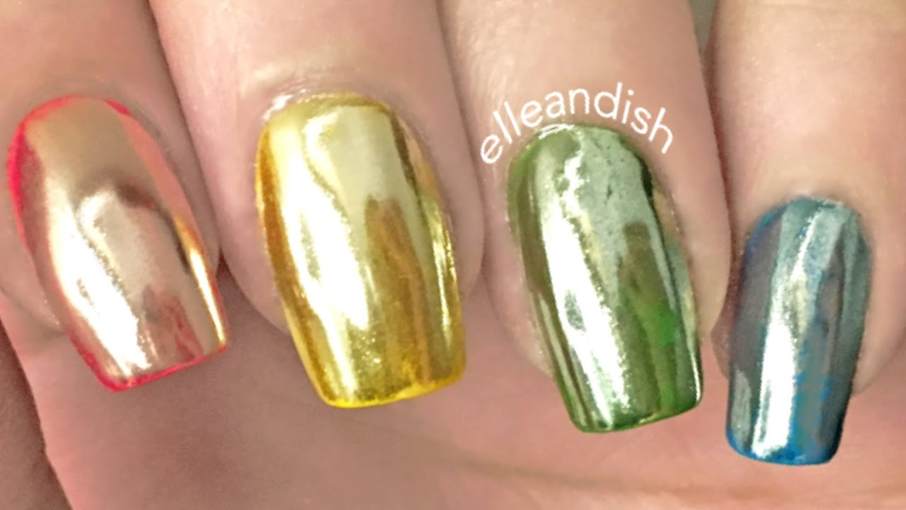 Liquid Skittle Nails And Holo Mirror Powder