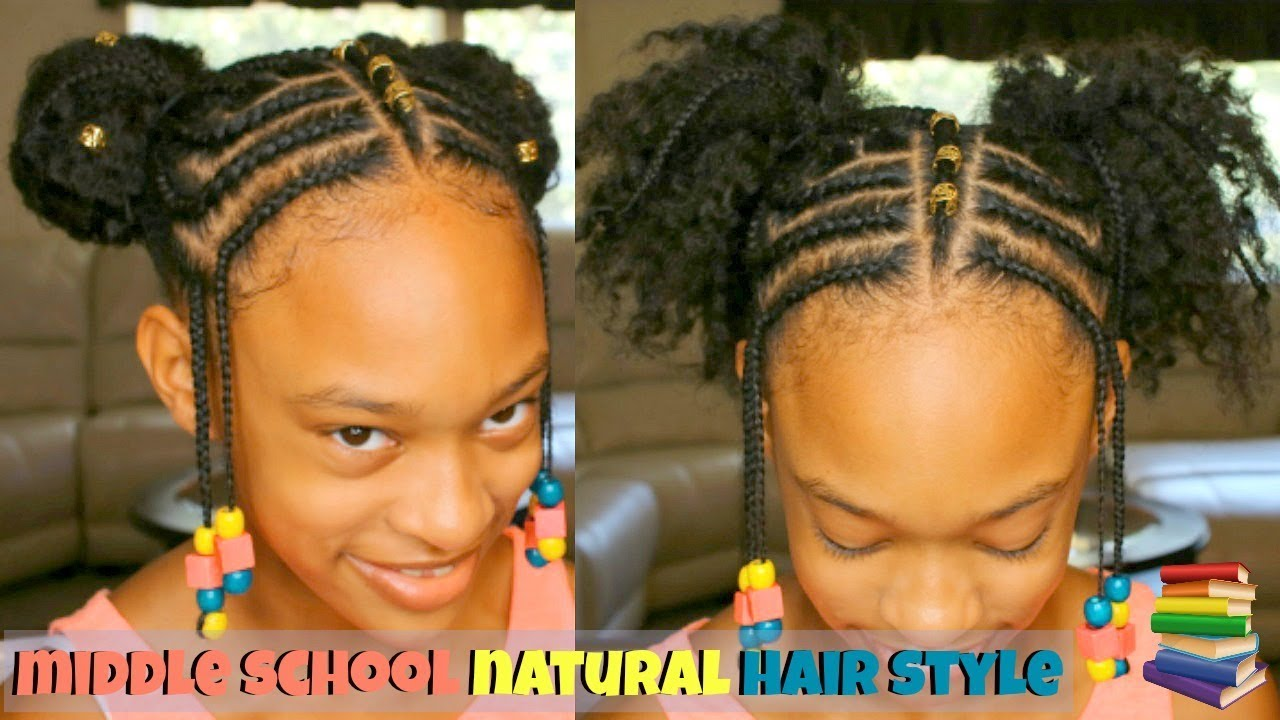 Braided Natural Hair Style On My Little Sister Middle School Age
