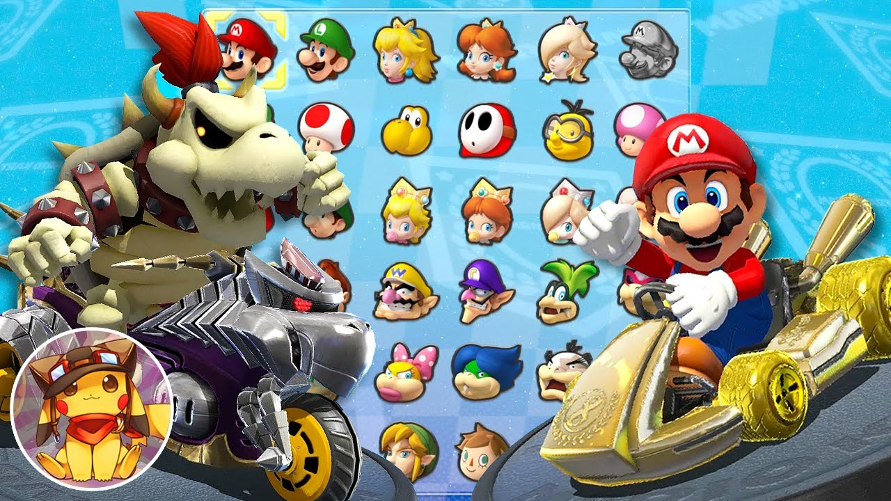 Mario Kart 8 - All Characters Unlocked and Metal Mario, Pink Gold Peach, Koopalings + More [1080p]