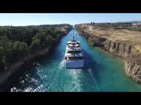 Superyacht St David passing through the Corinth Canal