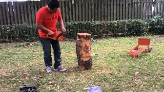 My 1st attempt at making a chainsaw carved tiki (1st time using chainsaw)