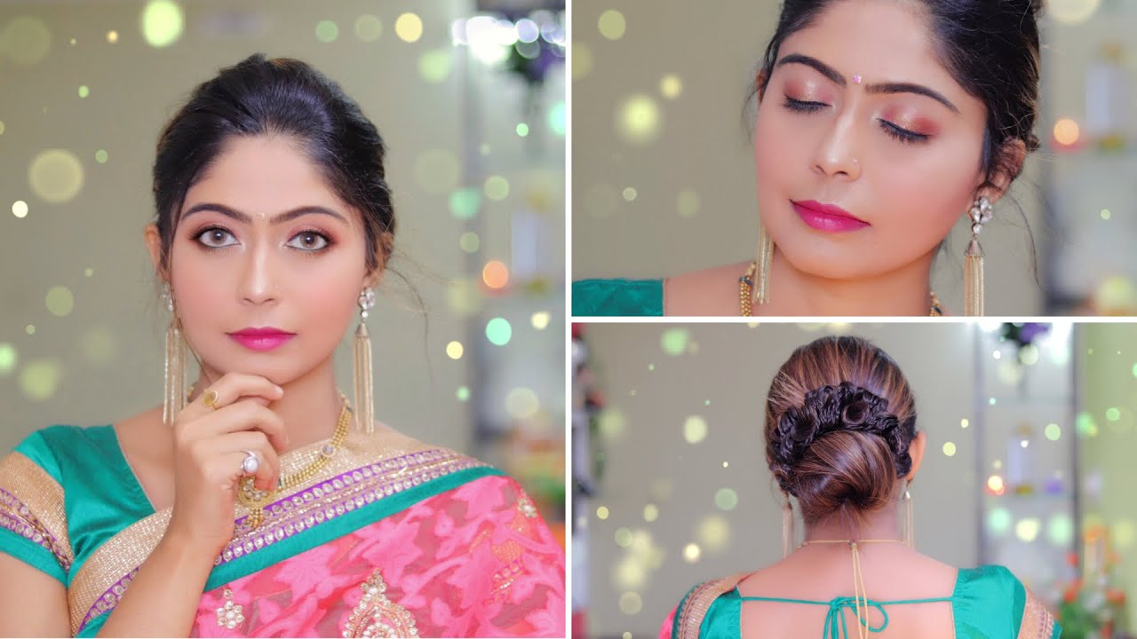 simple indian party makeup+hairstyle for beginners in hindi   rinkal soni