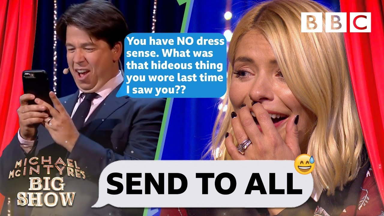 Holly Willoughby mortified as Michael TRASHES her contacts - BBC