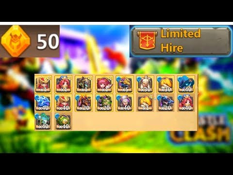 50 X Limited Hire | Any Zephyrica Soul Stones??? | Castle Clash