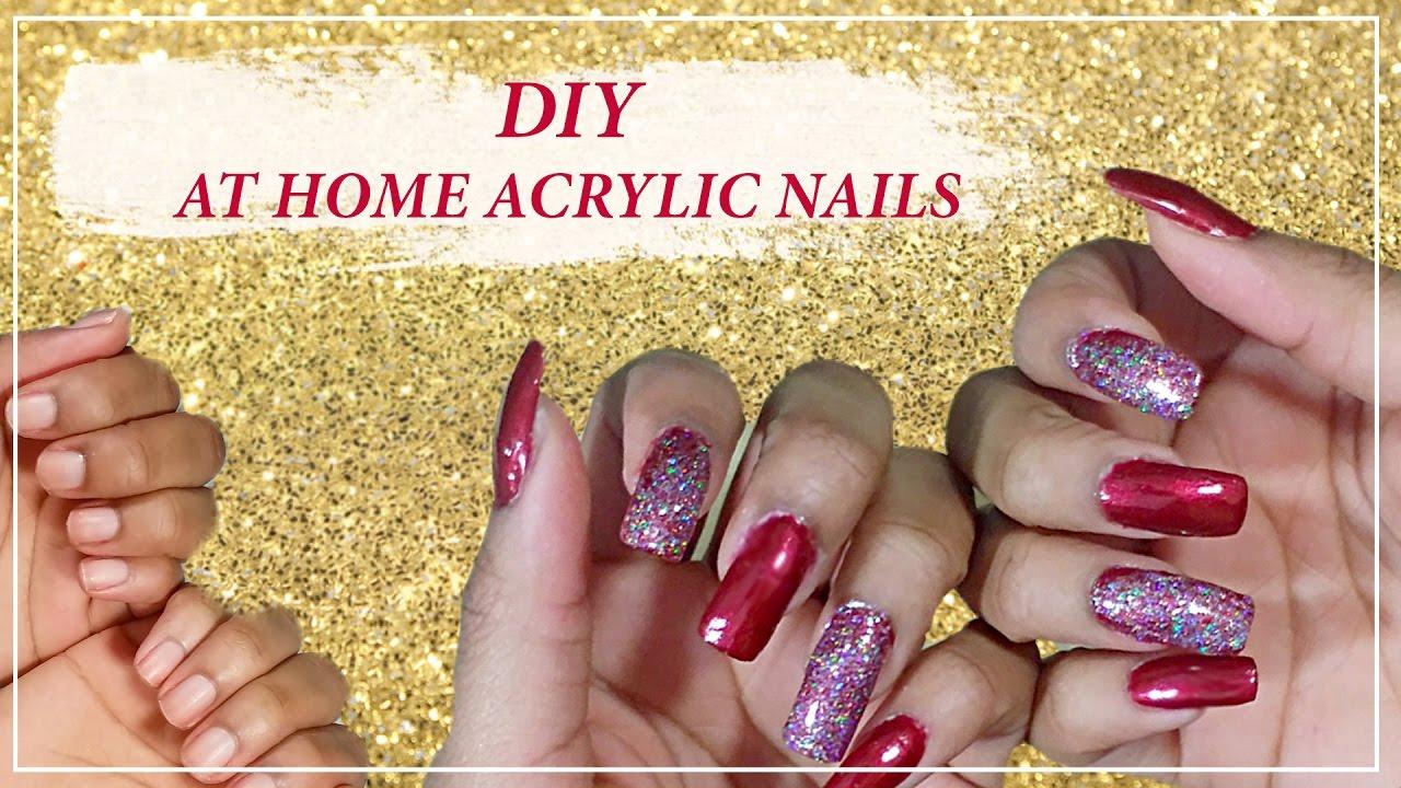 DIY FAKE ACRYLIC NAILS AT HOME (Kiss Nail Acrylic Kit ...