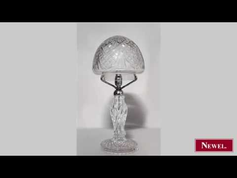 Antique English Victorian cut crystal table lamp with dome