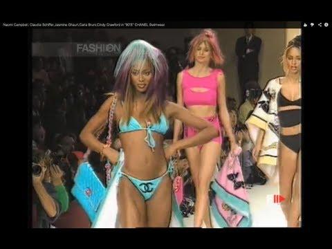 "Naomi Campbell, Claudia Schiffer,Jasmine Ghauri,Carla Bruni,Cindy Crawford in ""90'S"" CHANEL Swimwear"