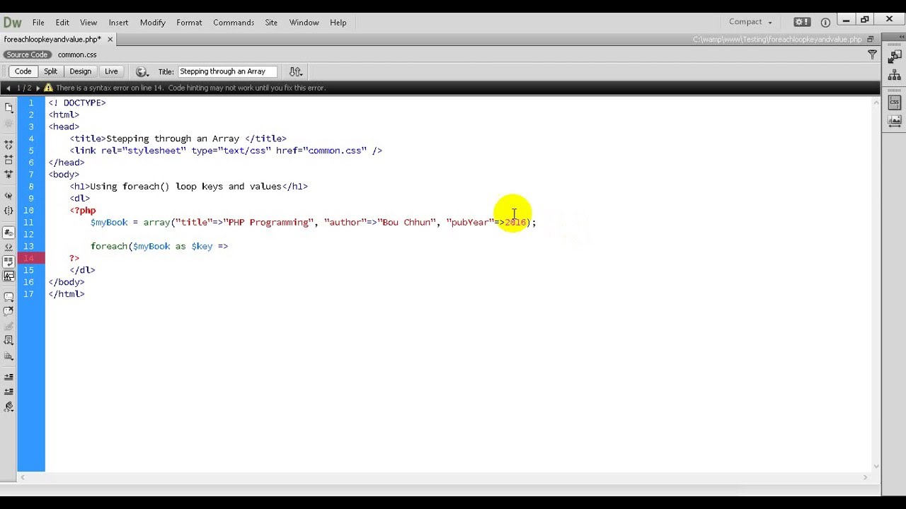 PHP Tutorial 60 Using foreach to Loop through Keys and Values from Array in PHP Programming
