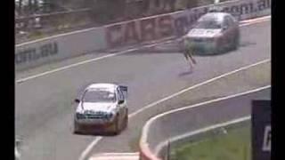 كنغر  محظوظ يقفز في سباق سيارات