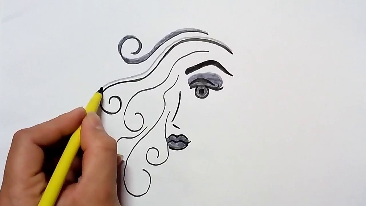 Line Drawing Face Woman : Internation women s day special how to draw woman face youtube