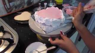 Repeat youtube video Anniversary Cake Valentines Day Cake Pink and White Flowers Cake