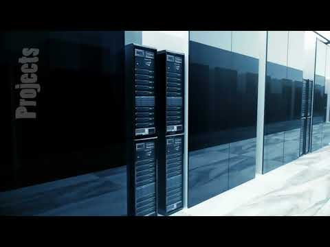 Data Servers In Server Room Looping. Video can represent information storage, cloud computing and