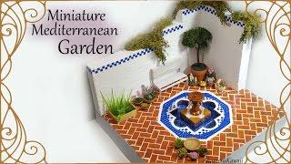 Miniature Mediterranean inspired Garden (w/ Fountain ) - Polymer Clay / Mixed Media Tutorial