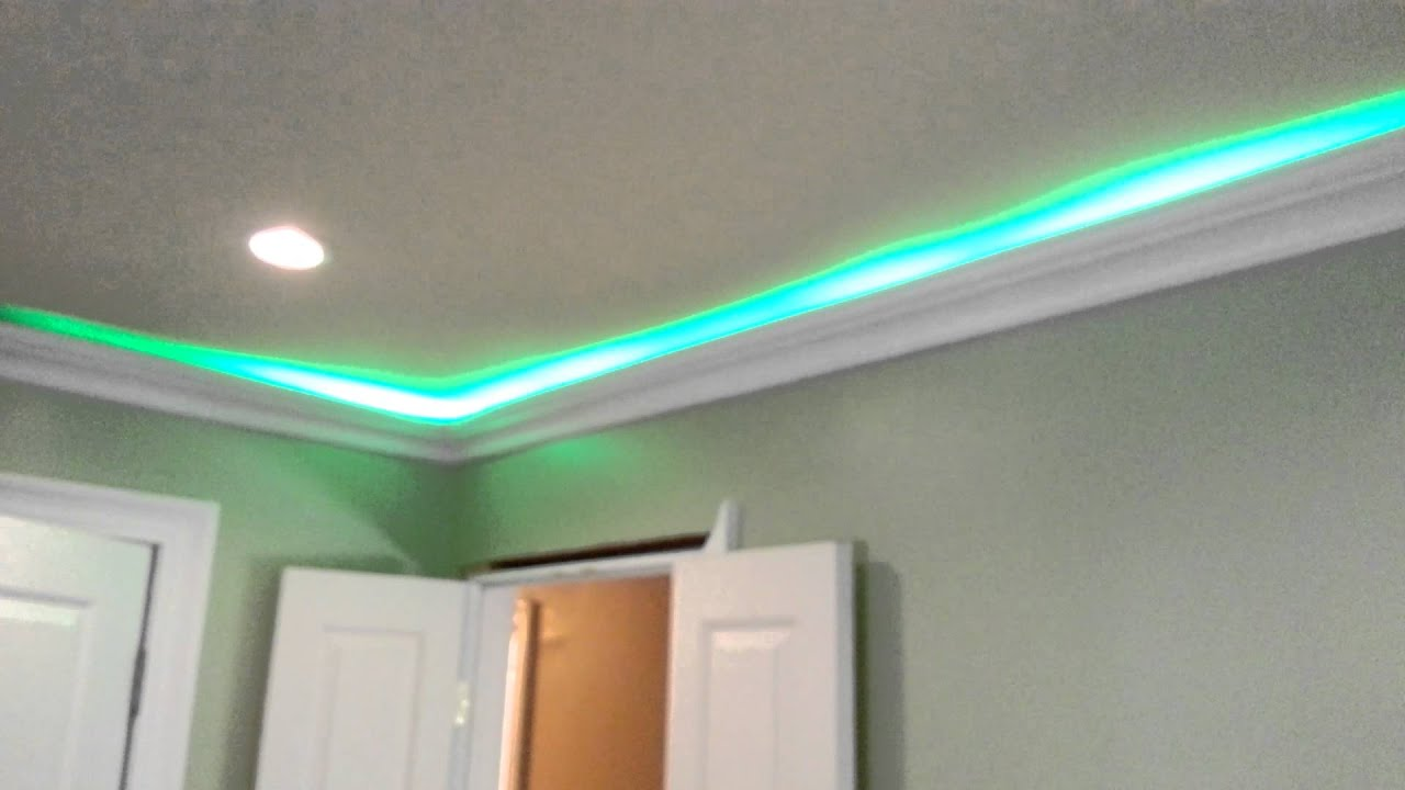 Led Smd Hit Lights Behind Crown Molding Test Fit Youtube