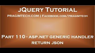asp net generic handler return json