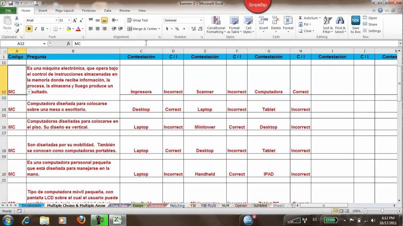 Crear Examen Plantilla Excel - YouTube