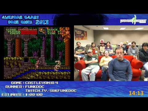 Super Castlevania IV - SPEED RUN in 0:36:27 by funkdoc at Awesome Games Done Quick 2013 [SNES]