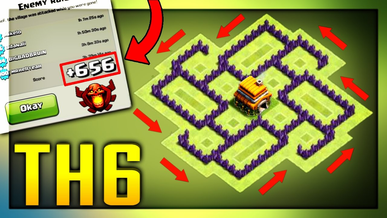 """NEW """"BEST"""" TOWN HALL 6 BASE DESIGN!! (CoC TH6) TROPHY"""