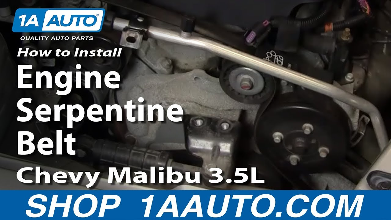 how to install replace engine serpentine belt chevy malibu 3 5l 04 08 1aauto com youtube [ 1920 x 1080 Pixel ]