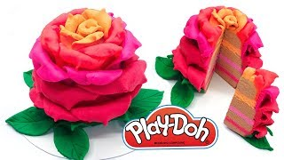 Play Doh Giant Flower Cake. Making Rose Cake out of Colorful Dough. Educational Video. DIY for Kids