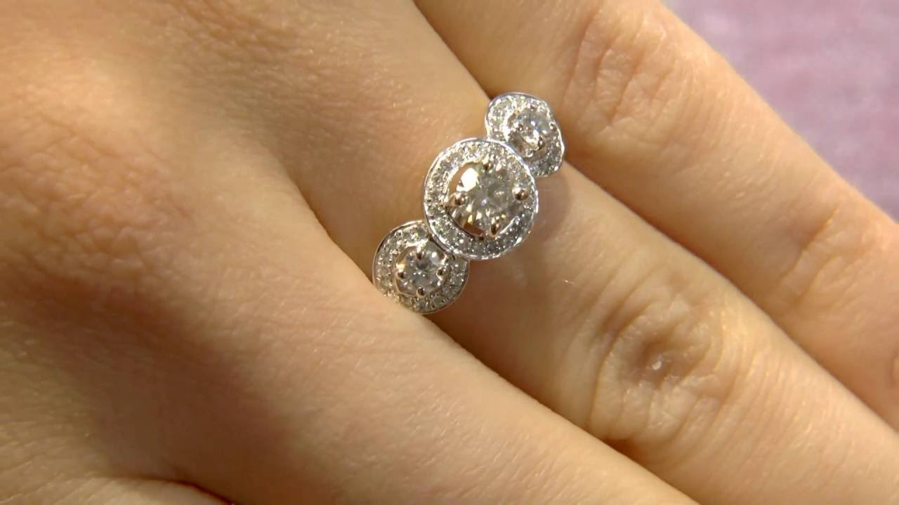 TR1011 Trilogy Halo Diamond Ring YouTube