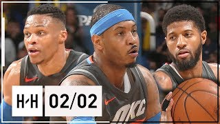 Russell Westbrook Triple-Double, Paul George & Carmelo Anthony Highlights vs Pelicans (2018.02.02)