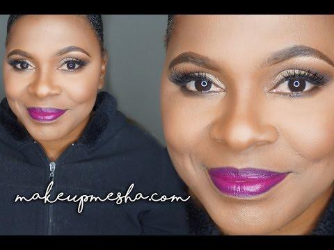 Client Neutral Glam + Plum Lips  MakeupMesha
