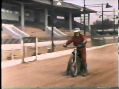 Blue Peter's John Noakes and Peter Purves at Hackney Speedway.