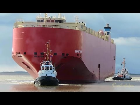 car carrier MONTREAL A8QU3 IMO 9382097 inbound Emden 3 tugs timelapse Autotransporter Schlepper