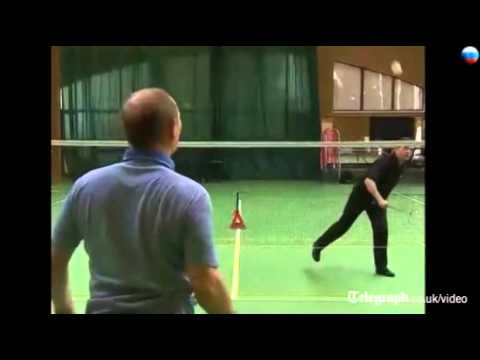 Dmitri Medvedev takes on Vladimir Putin at badminton
