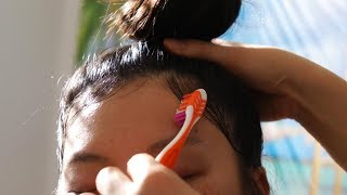 ASMR *HAIR STYLING* (Story Time Whispers) Hair Brushing, De-greasing, Top Knot + LAYING DOWN EDGES!!