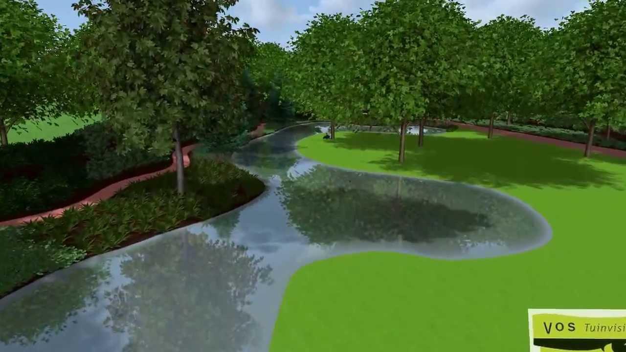 3d tuinontwerp met grote natuurlijke vijver door dani l for Vijverpomp voor grote vijver