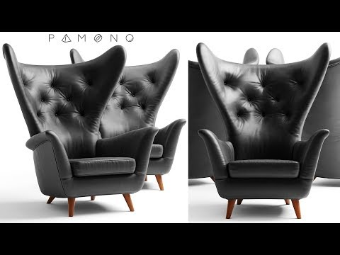 "№16. Chair Modeling ""Black Leather Wing Lounge Chair 1950s""  в 3d Max."