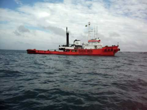 Hellas Salvage and Towing Tug anchored in Torbay UK