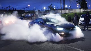 Fast Fords Leaving a Car Meet + MUSTANG SHOW OFFS!