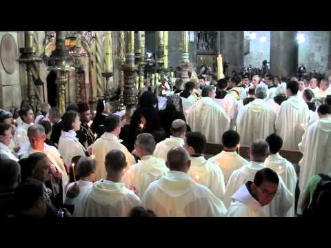 Holy Saturday 2012 in Jerusalem inside the Church of the Holy Sepulchre