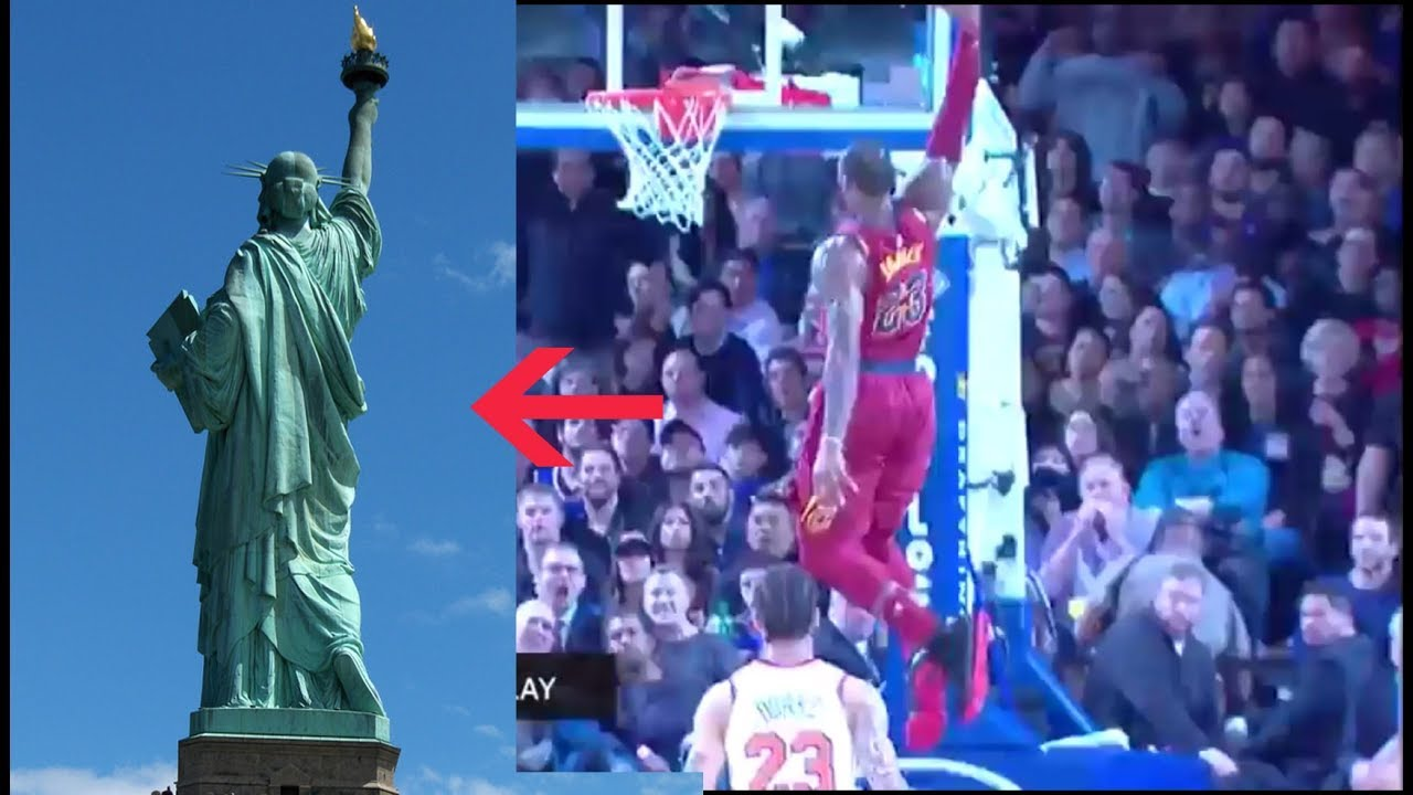 reputable site 06fd2 b2580 The Statue of Liberty Dunk by LeBron James