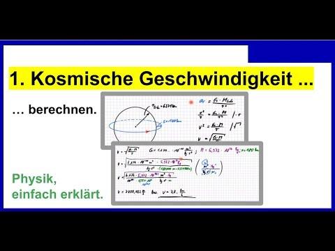"""""""Erste Kosmische Geschwindigkeit"""" berechnen, zB. Satellit auf einer Kreisbahn halten, ..."""