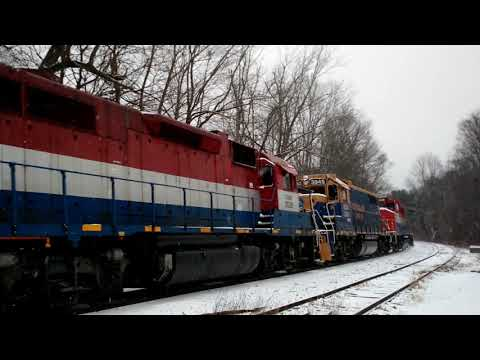 New England Central 608 echoes through the snow in Mansfield Depot Connecticut