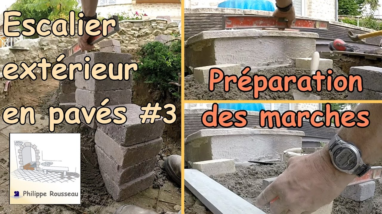 construire un escalier ext rieur de jardin en pav 3 pr paration des marches youtube. Black Bedroom Furniture Sets. Home Design Ideas