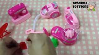 Unboxing Toys Review/demo - Fun Pink Household Set Sewing Vacuuming Ironing Mixer Broom