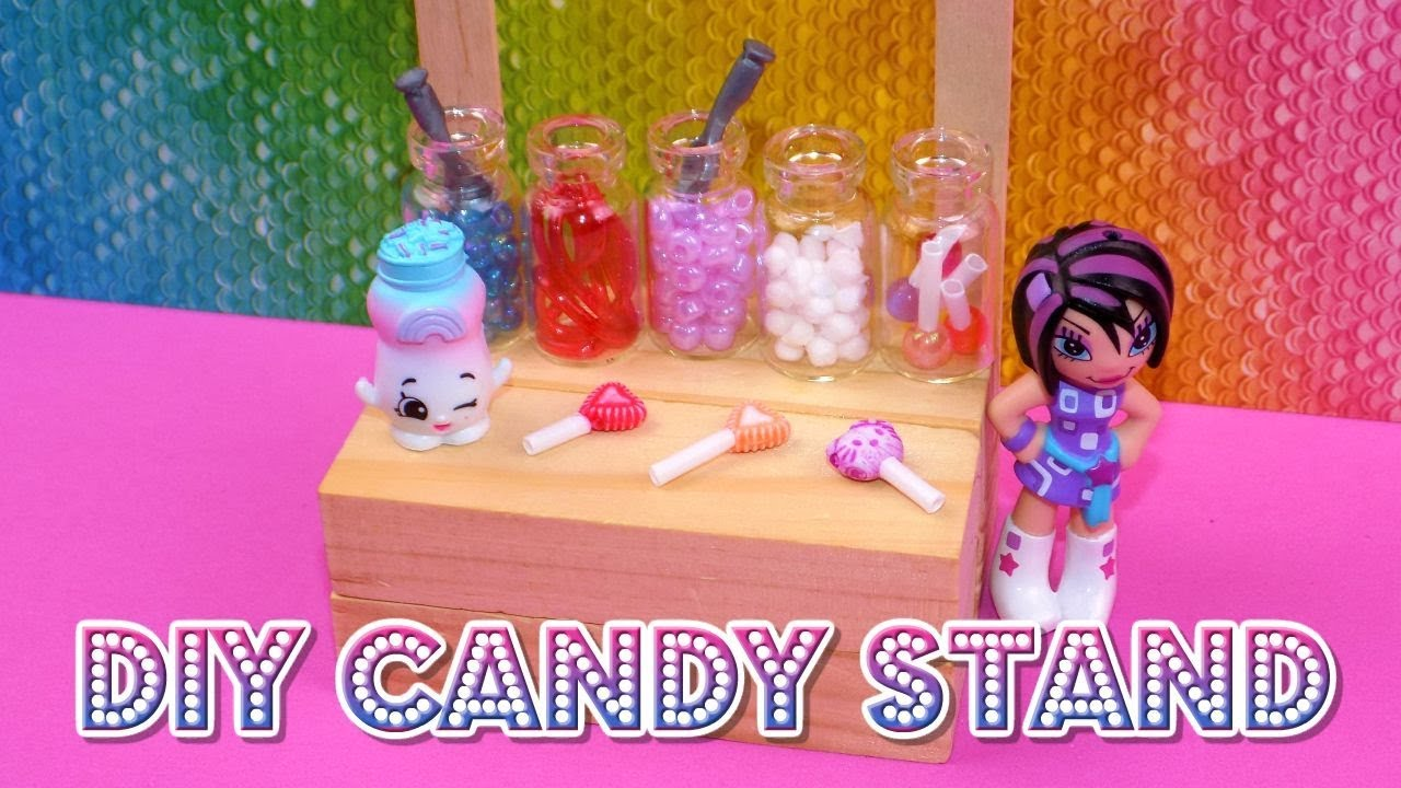 Diy Miniature Candy Stand How To Make Lps Crafts Stuff Barbie Doll Accessories Dollhouse Things