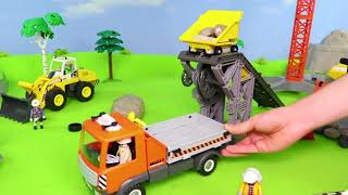 Tractopelle, Tracteur, Pelleteuse, voiture de police, Camion de pompier - Excavator Toys