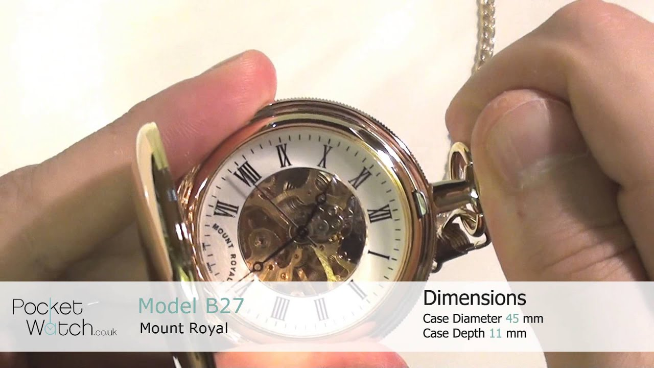 5cf24e8f6 Gold Plated Skeleton Mechanical Double Hunter Pocket Watch B27 - YouTube